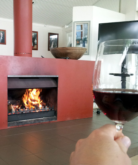 Winter fire and a glass of red